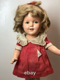 13 Antique Ideal Compo Shirley Temple 13 Doll Poor Little Rich Girl Red Dress S