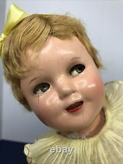 13 Antique Ideal Shirley Temple Flirty Eyes Compo Original Dress, Wig As Is #Mi