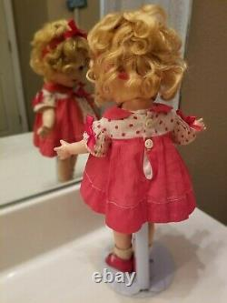 13 Compo Shirley Temple Doll RARE CAPTAIN JANUARY dImiity RED dress