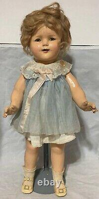 18 1/2 Shirley Temple Unmarked Doll Original Clothes Blue Dress