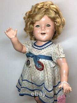 18 Antique Ideal Compo Shirley Temple All Original Stand Up & Cheer & Pin #SH