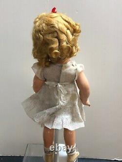 18 Antique Ideal Compo Shirley Temple Doll 1936 FAO Schwartz Floral Dress Pin S