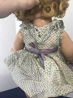 18 Antique Ideal Compo Shirley Temple Doll Original With Pin Polka dot Dress #CO