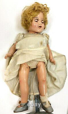 1930's Ideal 15.25 Shirley Temple Composition Doll with tagged outfits and Trunk