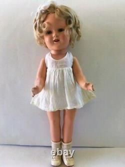 1930's SHIRLEY TEMPLE 16 COMPOSITION DOLL IN RARE ORIG BLUE CHECK CHERRY DRESS