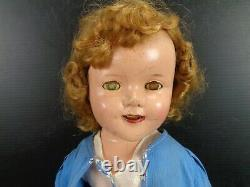 1930's SHIRLEY TEMPLE 18 DOLL by IDEAL COP with CASE & OUTFITS