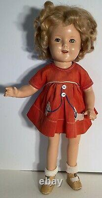 1930s Ideal Composition Shirley Temple 16 Doll with Original Red Scotty Dog Dress