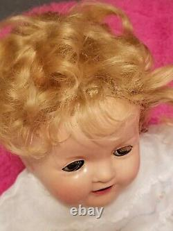 1930s Ideal Shirley Temple Baby 16 Flirty eyes light blonde mohair wig
