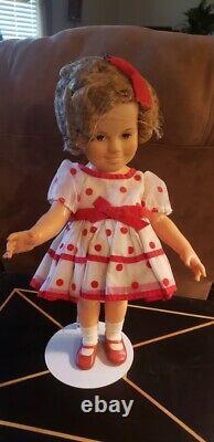 1972 Shirley Temple Doll 17 Vinyl Stand Up Cheer Polka Dot Dress