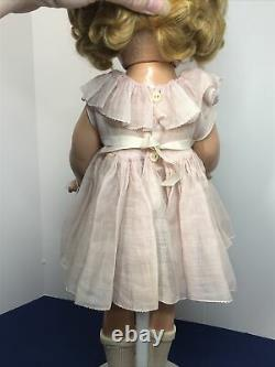 20.5 Antique Ideal Compo Shirley Temple Original Pink Dress Pin Blonde Curls CO