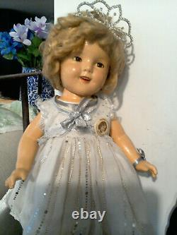 20 Composition Ideal Shirley Temple Doll in Little Miss Broadway Princess Dress
