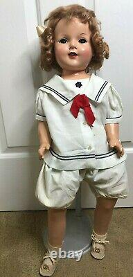 Antique Vintage 29 Shirley Temple Type Doll Flirty Eyes Cloth Body No Markings