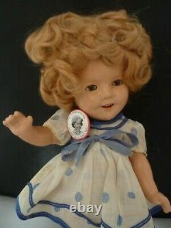 Early Ideal Composition Shirley Temple Doll 13 Rare Blue white dress and BADGE