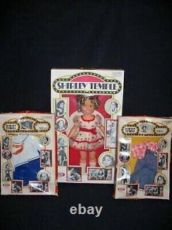IDEAL 16 VINYL STAND UP & CHEER SHIRLEY TEMPLE DOLL With BOX & 2 EXTRA OUTFITS