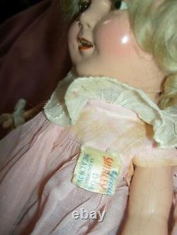 Ideal 13 compo. SHIRLEY TEMPLE doll with orig. Tagged clothes & wig, clear eyes