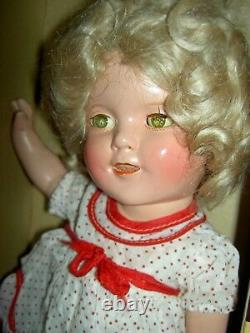 Ideal Shirley Temple 13 compo. Doll, TWO orig. Tagged outfits, pin, wig & TRUNK