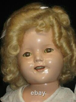 Ideal Shirley Temple Composition Doll 1930s 18 With Rare Dress Has Replaced Wig