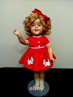 Ideal Shirley Temple Composition Doll 22 Wearing Replica Scottie Dog Dress