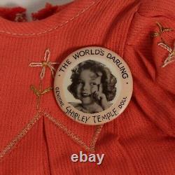 RARE IDEAL NOVELTY & TOY CO. GENUINE SHIRLEY TEMPLE DOLL WithDRESS & BUTTON 18