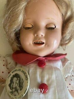 Shirley Temple 13 Vintage 1930's Composition Doll White Dress Red Trim and Pin
