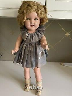 Shirley Temple 20 Vintage 1930's Composition Doll Gray Dress with Wrist Tag