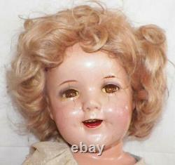 Shirley Temple Composition Doll Curly Sue Ideal 28in Dress Pin Shoes Vintage
