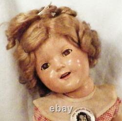 Shirley Temple Composition Doll Ideal 18in Original Dress Pin Shoes Vintage
