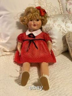 Shirley Temple Composition Doll Ideal 20 in Vintage 1930s Blonde Mohair Wig