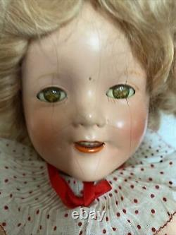 Shirley Temple Doll Vintage 1930s Compo 18 All Original With Pin & Box Bottom