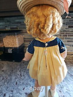 Shirley Temple Doll Vintage 1930s Compo 18 tagged dress