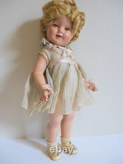 Shirley Temple Doll Vintage 1930s Composition 18 tagged dress, ALL ORIGINAL