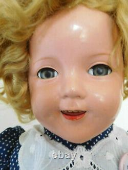 Vintage 1930's Ideal 25 Shirley Temple Composition with Clear Eyes