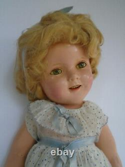 Vintage 1930s 18 Composition Ideal Shirley Temple Doll in Orig Blue Dot Dress