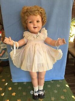 Vintage 1930s Ideal Shirley Temple 22 Doll In Original Dress Great Condition