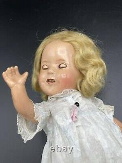 Vintage 1930s Shirley Temple Composition 12 Doll In Original Dress