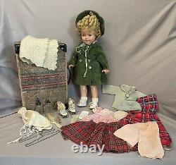 Vintage 1930s Shirley Temple IDEAL 18 Composition Doll with Roller Skates