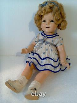 Vintage 1934 18 Tag in Head Composition Ideal Shirley Temple Doll in Tag Dress