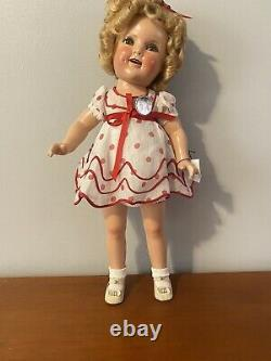 Vintage (1934) 20 inch Shirley Temple Stand Up and Cheer Doll With Pin