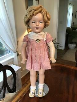 Vintage 27 Shirley Temple Doll Composition Marked Ideal Blond Wig Dress Pin