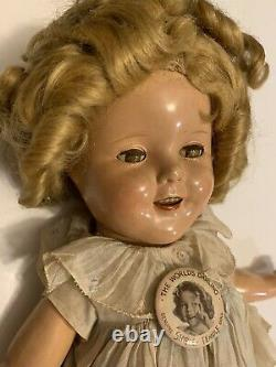 Vintage IDEAL Shirley Temple Marked Doll 1930s 16 Composition Original Outfit
