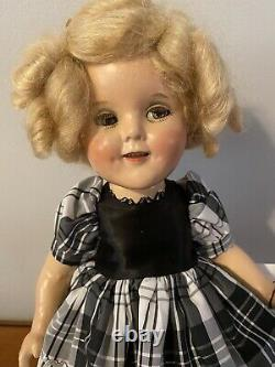 Vintage Ideal 1930's Shirley Temple Composition Doll Marked 15 inches DIMPLES