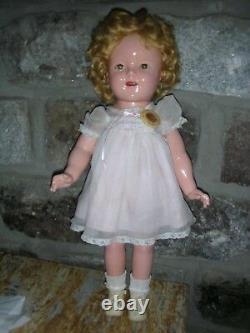Vintage Ideal Composition Shirley Temple Doll 18' 1930's Compo Tin Sleep Eyes