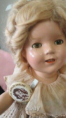 Vintage Rare 13 Shirley Temple Doll Orig Dress With Pin Great Condition