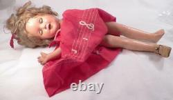 Vintage Shirley Temple Composition Doll Ideal 13in. Red Music Note Dress As Is