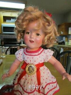 Vintage Shirley Temple composition doll, extra romper, pin, 16 AS-IS