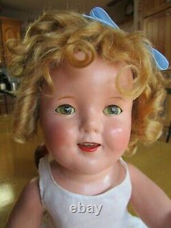 Vintage Shirley Temple composition doll, orig dress and pin, 18 IDEAL, AS-IS